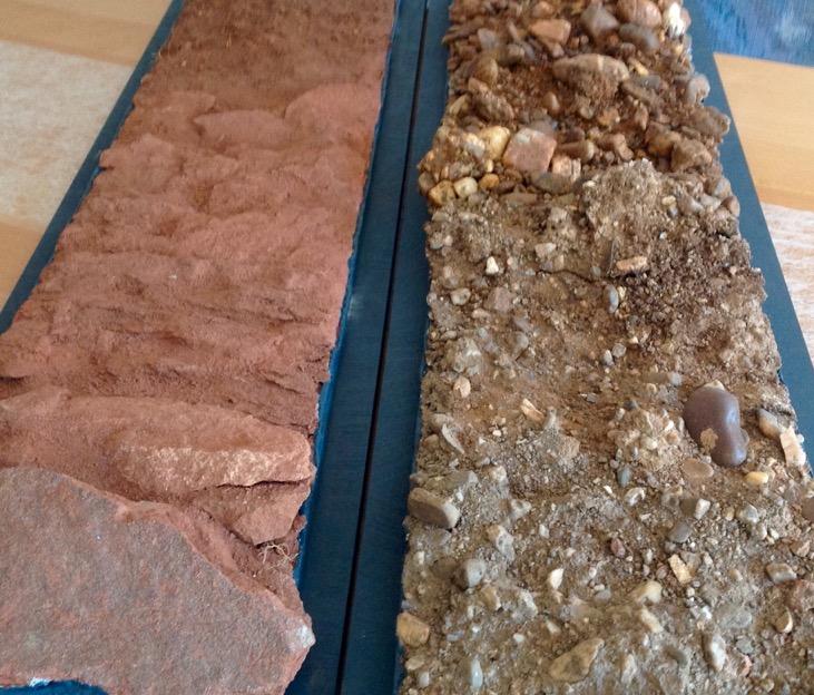 Roter Sandstein und Mergel-Kies-Boden